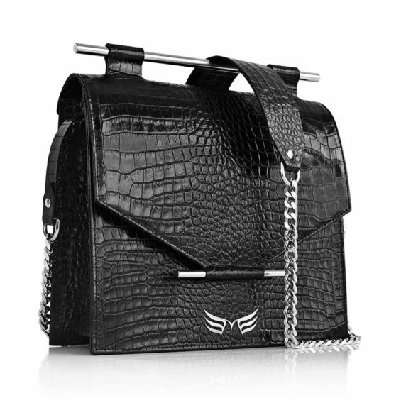 Maestoso Black Croco Square Bag