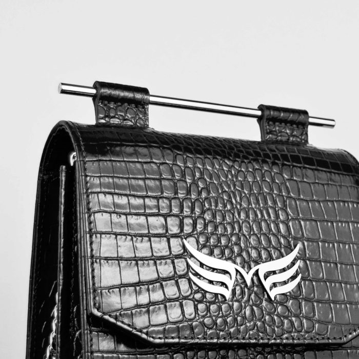 Geanta mini neagra din piele naturala cu textura croco Maestoso Black Croco Sparrow Bag