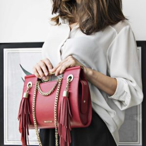 Maestoso Ruby Red Fringe Clutch
