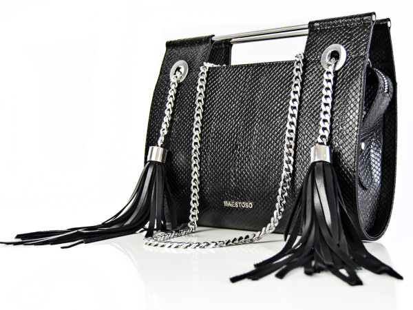 Maestoso Black Snake Fringe Clutch