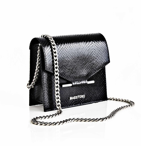 Geanta Maestoso Black Snake Mini Square Bag