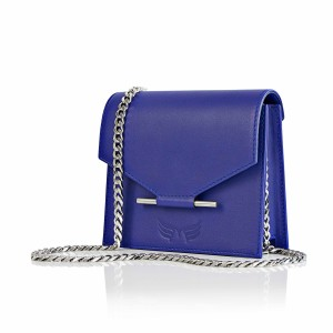 GEANTA PIELE NATURALA MAESTOSO ROYAL BLUE MINI SQUARE BAG