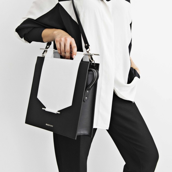 Maestoso Black & White Rectangular Bag
