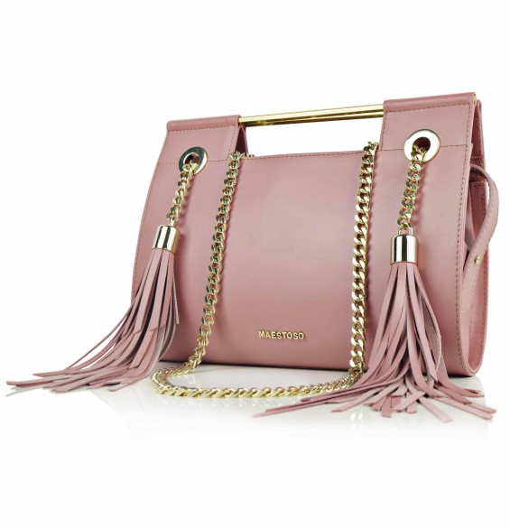 Maestoso Dusty Pink Fringe Clutch