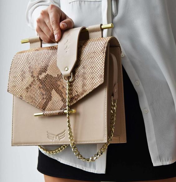 Maestoso Nude & Snake Print Square Bag