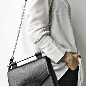 MAESTOSO BLACK SNAKE SQUARE BAG