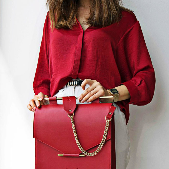 Geanta din piele Maestoso Ruby Red Large Square Bag