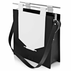 Geanta din piele naturala Maestoso Black & White Rectangular Bag