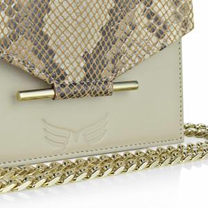 Maestoso Nude & Snake Print Mini Square Bag