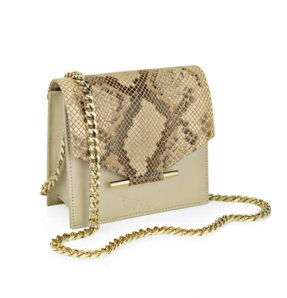 Maestoso Nude & Snake Print Mini Square Bag