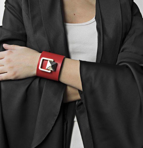Bratara din piele naturala Maestoso Ruby Red Bracelet