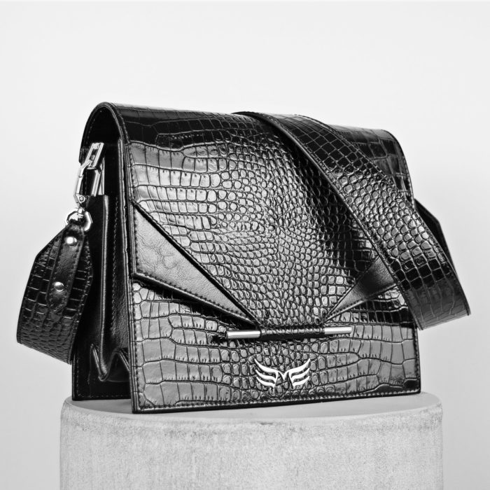 Geanta neagra din piele naturala Maestoso Black Croco Allegro Bag