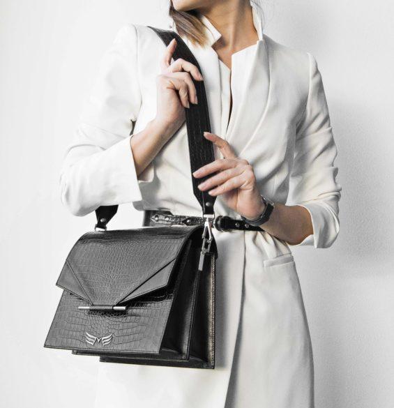 Maestoso Black Croco Allegro Bag