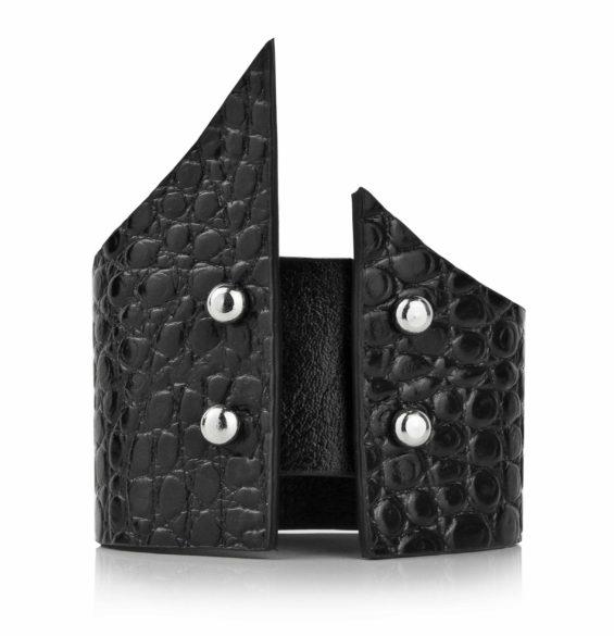 Maestoso Black Croco Sharp Bracelet