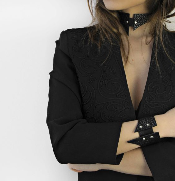 Maestoso Black Croco Sharp Bracelet