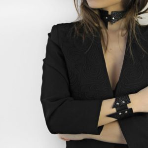 Maestoso Black Croco Sharp Choker