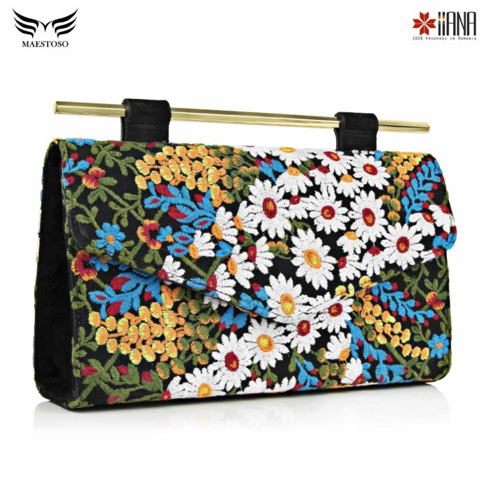 Geanta din piele naturala Maestoso For IIANA Embroidered Black Clutch