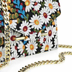 Geanta din piele naturala Maestoso For IIANA Embroidered Black Mini Square Bag