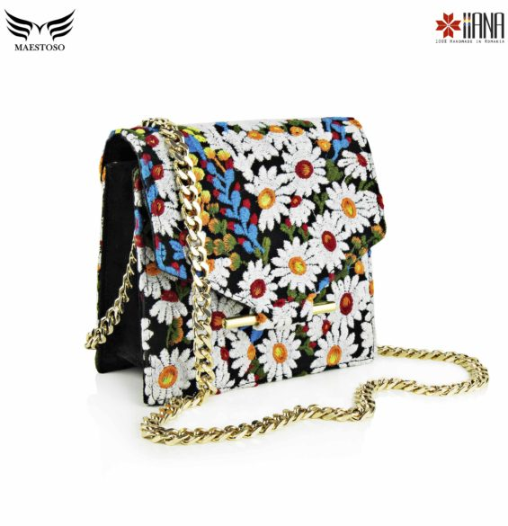 Geanta din piele naturala Maestoso For IIANA Embroidered Black Mini Square Bag