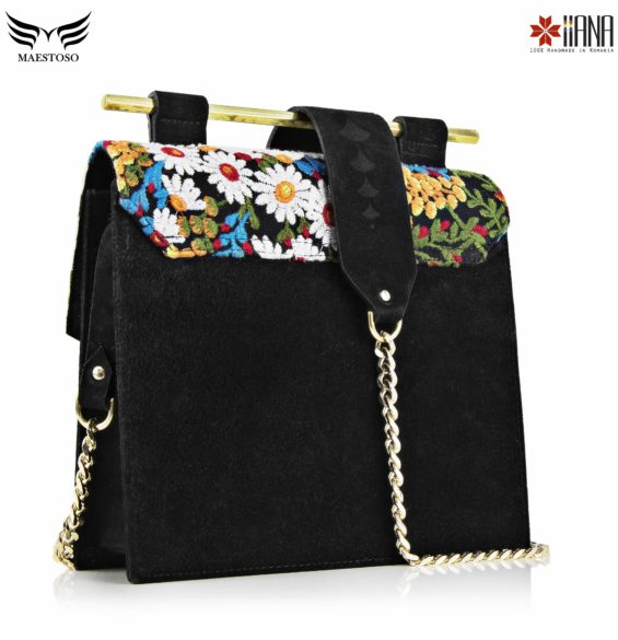 Geanta din piele naturala Maestoso For IIANA Embroidered Black Square Bag