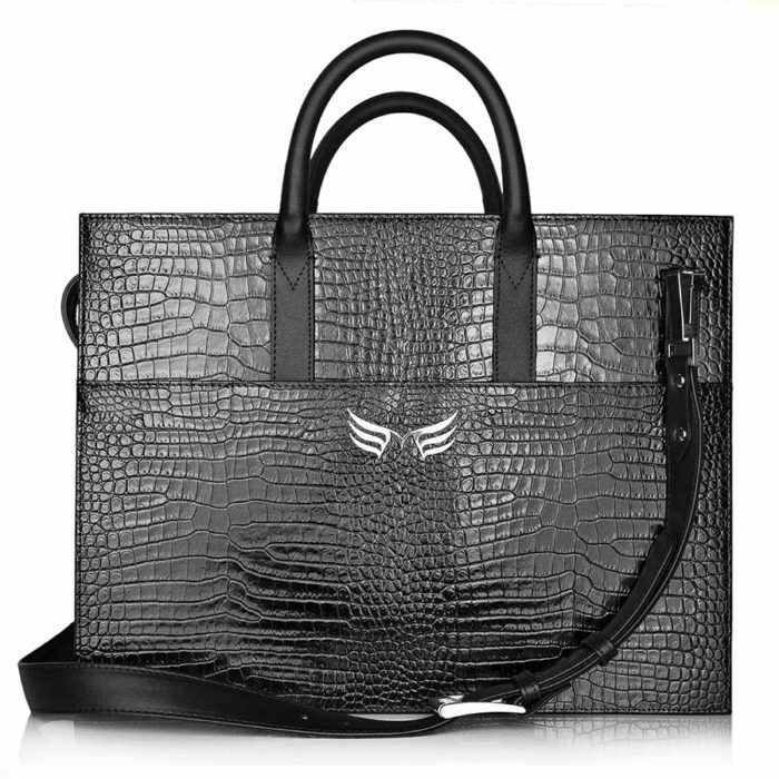 Servieta office din piele Maestoso Black Croco Briefcase