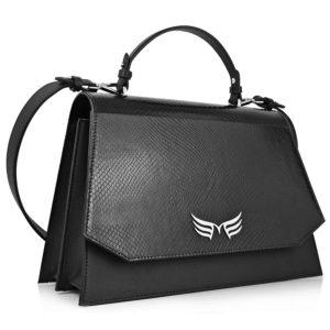 Geanta office din piele naturala Maestoso Black Snake Large Skylark Bag