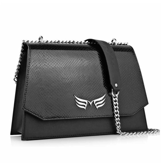 Geanta din piele naturala Maestoso Black Snake Skylark Bag
