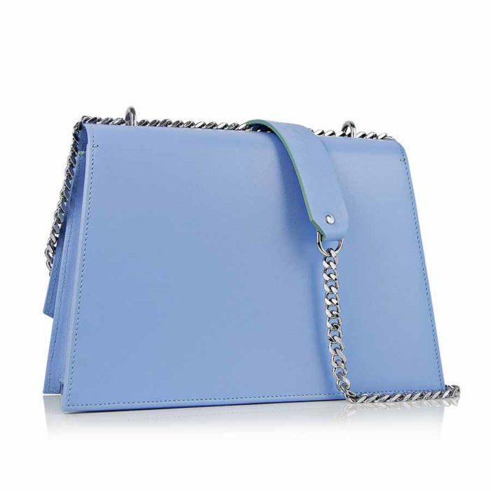 Geanta din piele naturala Maestoso Blue Sky Skylark Bag