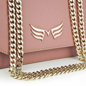 Geanta din piele naturala Maestoso Dusty Pink Mini Skylark Bag