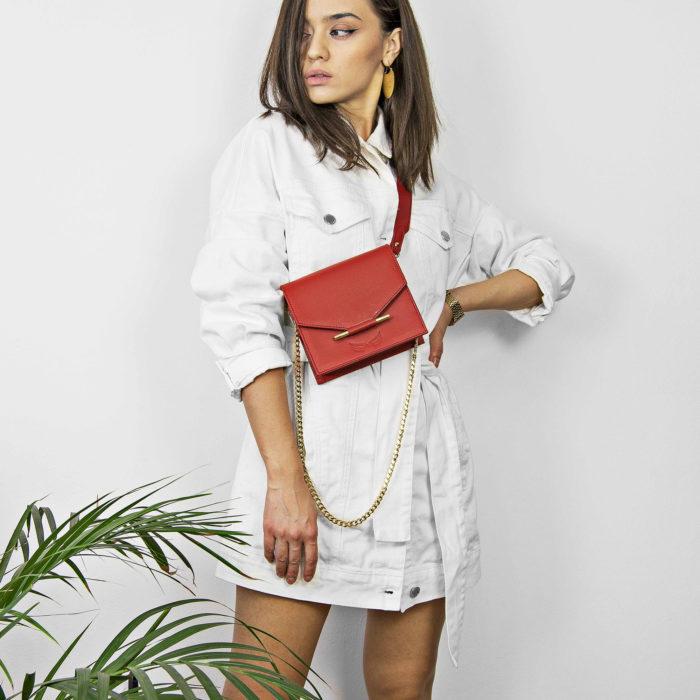 Borseta si geanta mini rosie din piele naturala Maestoso Mini & Waist Bag Red
