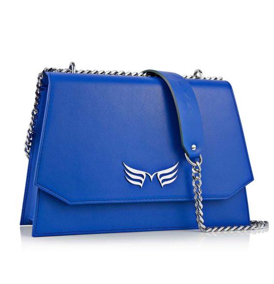 Geanta din piele naturala Maestoso Royal Blue Skylark Bag