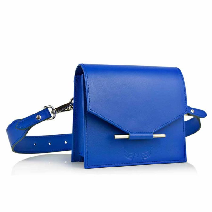 Borseta din piele naturala Maestoso Royal Blue Waist Bag