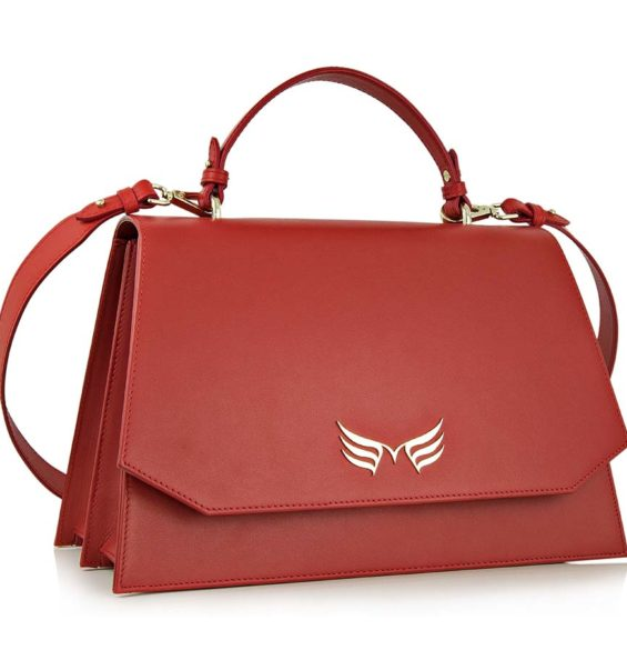 Geanta office din piele naturala Maestoso Ruby Red Large Skylark Bag
