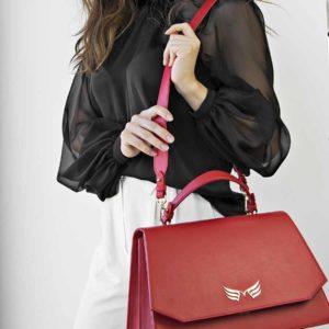 Geanta office din piele naturala Maestoso Ruby Red Large Skylark Bag