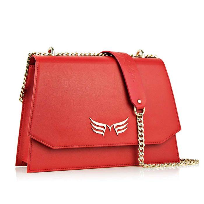 Geanta din piele naturala Maestoso Ruby Red Skylark Bag
