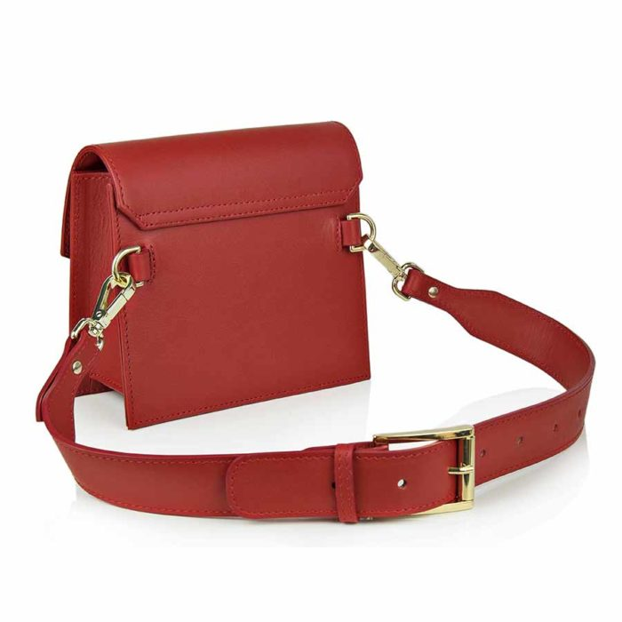 Borseta din piele naturala Maestoso Ruby Red Waist Bag