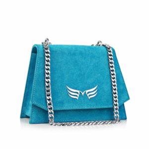 Geanta din piele Maestoso Turquoise Mini Skylark Bag