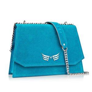 Geanta din piele naturala Maestoso Turquoise Skylark Bag