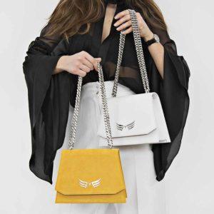 Geanta din piele naturala Maestoso White Mini Skylark Bag