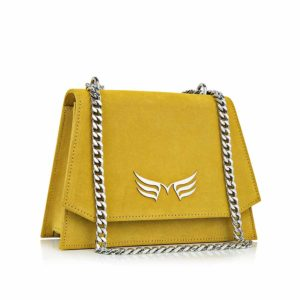 Geanta din piele naturala Maestoso Yellow Mini Skylark Bag