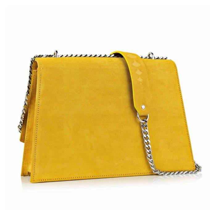 Geanta din piele naturala Maestoso Yellow Skylark Bag