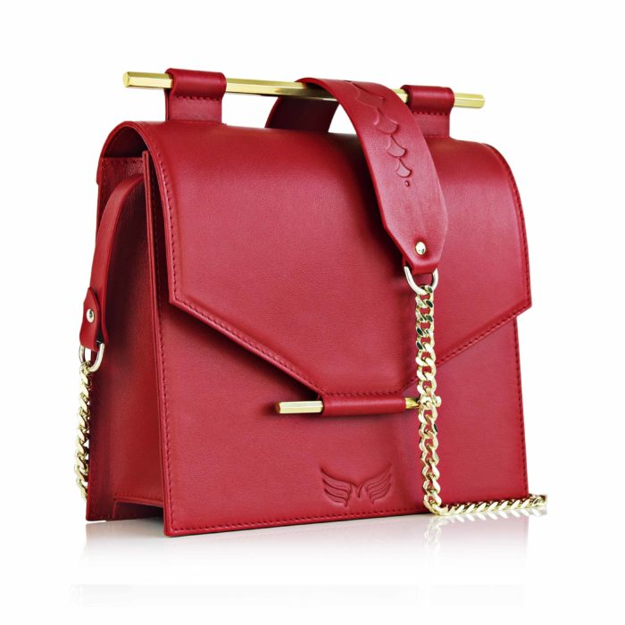 Geanta din piele naturala Maestoso Ruby Red Square Bag
