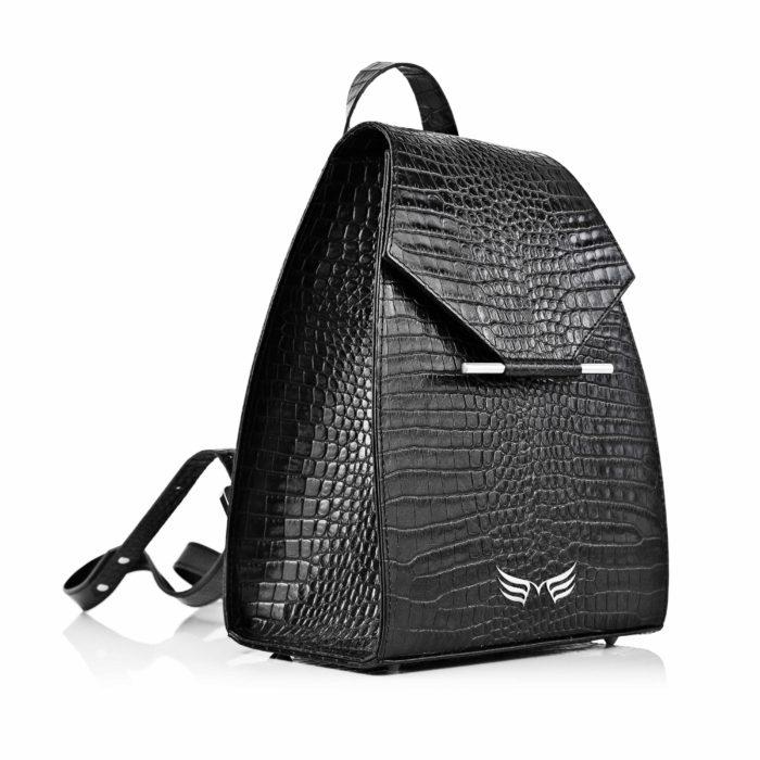 Maestoso Black Croco Mini Backpack