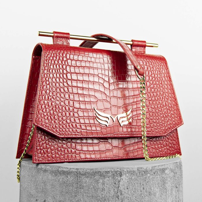 Geanta din piele naturala, culoarea rosu croco Maestoso Red Croco Skylark Queen