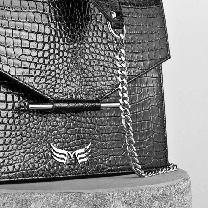Geanta din piele naturala cu textura croco, culoarea negru croco, Maestoso Black Croco Square