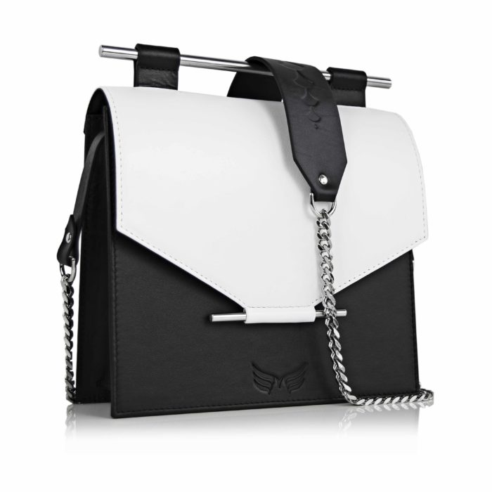 Geanta din piele naturala Maestoso Black & White Square Bag