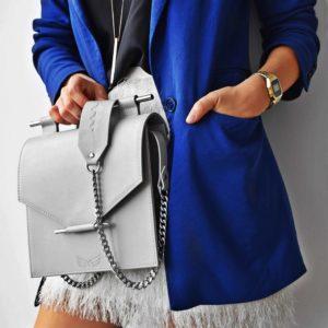 Geanta din piele naturala Maestoso Grey Square Bag