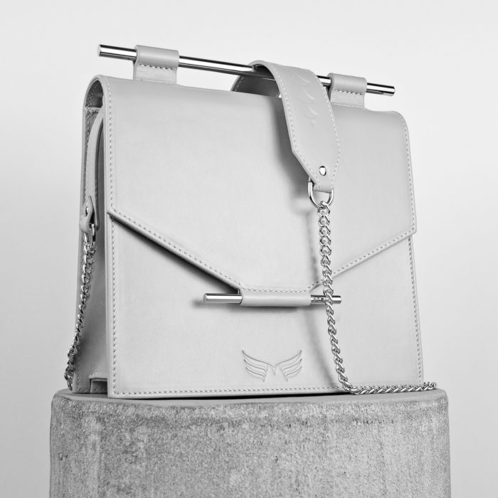 Geanta gri din piele naturala Maestoso Grey Square Bag