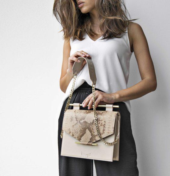 Geanta din piele naturala Maestoso Nude & Snake Square Bag