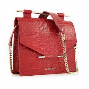 Geanta din piele naturala Maestoso Red Croco Square Bag